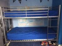 Silver frame bunk beds (single)