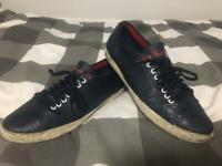Lacoste Signature Navy Leather Trainers Size 10