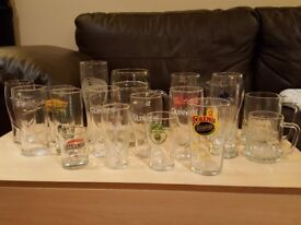 Branded BEER LAGER Glasses Glass Collection Guinness Amstel IPA Black Sheep Cains Carling Budweiser