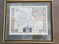 Print of Oxford map as in 1605