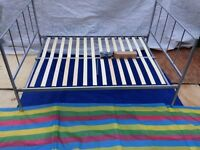 Silver metal Bed Frame, Double Size 135x195, ex-John Lewis