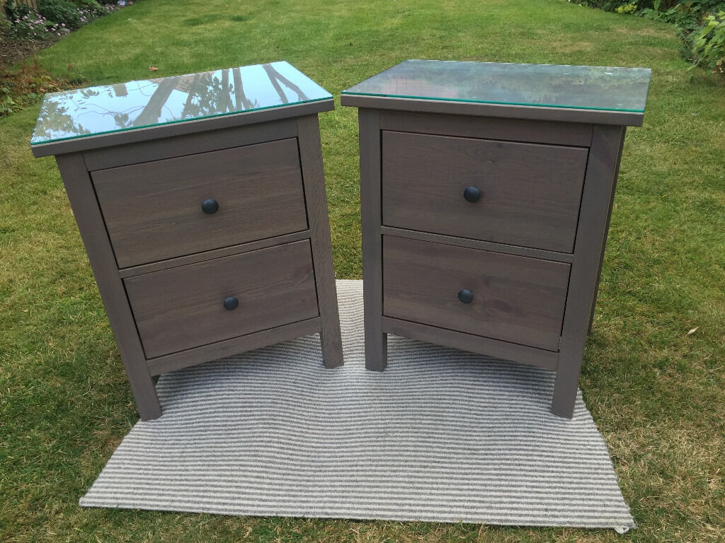 Ikea Hemnes X 2 Chest Of 2 Drawers Bedside Table Black