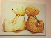 Medium sized teddy bear canvas wall art