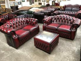 Stunning immaculate oxblood chesterfield 3 piece suite UK delivery