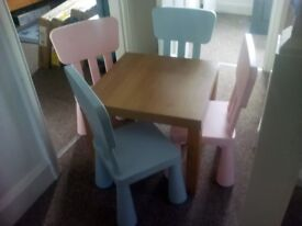 Children's table and 4 chairs