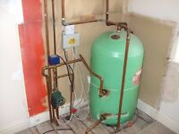 Indirect water cylinder and thermostat.
