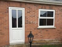 White UPVC garage door and window