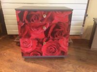 CHEST OF DRAWERS - UPCYCLED IN A LOVELY ROSE PRINT - CAN DELIVER