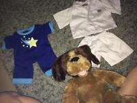 Build a bear dog and two outfits