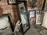 Brand New Boxed Tall Antique French Mirror in Black