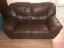 Sofa two seater Brown leather