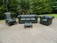 Vintage Chesterfield 3+1+1+Foot-Stool Leather Suite