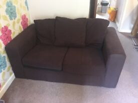 Two Chocolate Brown Fabric Sofas £95 with FREE delivery within 5 miles by today 5pm