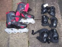 In-line skates size 1-3 adjustable with protective pads