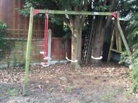 Wooden swing set and glider