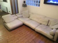 L shape White leather sofa RRP £3300