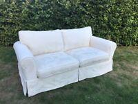 Cream two seater sofa + armchair