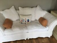 Off white cream fabric (loose covers) sofa in great condition