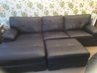 Large SCS Endurance real leather corner sofa with chaise and matching footstool dark brown