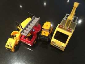 Boys toy vehicles, fire engine, luggage carrier, truck and JCB pull back digger
