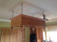 Wooden Kitchen Rack, black hooks included