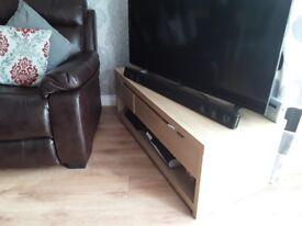 Oak veneer TV unit with 3 drawers £20 matching display unit £30