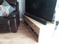 Oak veneer TV unit with 3 drawers £20 matching display unit £30