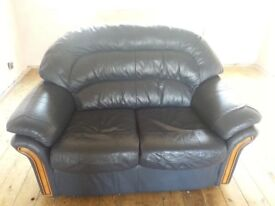 TWO SEATER REAL LEATHER SOFA.. .DARK BLUE