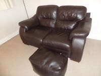 Two seater sofa and pouffe