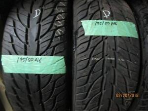 195/50R16 SET OF 4 USED GENERAL ALL SEASON TIRES