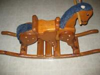 LARGE SOLID WOOD ROCKING HORSE