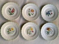 Set of 6 Beautiful Vintage Spode Floral Dinner Plates From 1949 (+ 6 Free Wall Hangers)