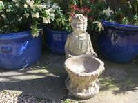 Concrete stone 52cm high girl with bowlgarden feature pot ornament