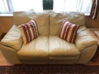 2 Seater Cream Leather Sofa + Footstool