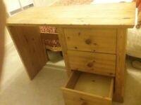wooden desk three drawers pine