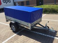 Brand new Brenderup 1205s car box trailer with mesh side and gray cover