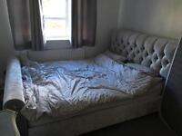 Crushed velvet king size bed