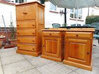 Chest of Drawers & 2 x Bedside Pedestals