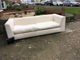Lovely, cream fabric 4 seater sofa