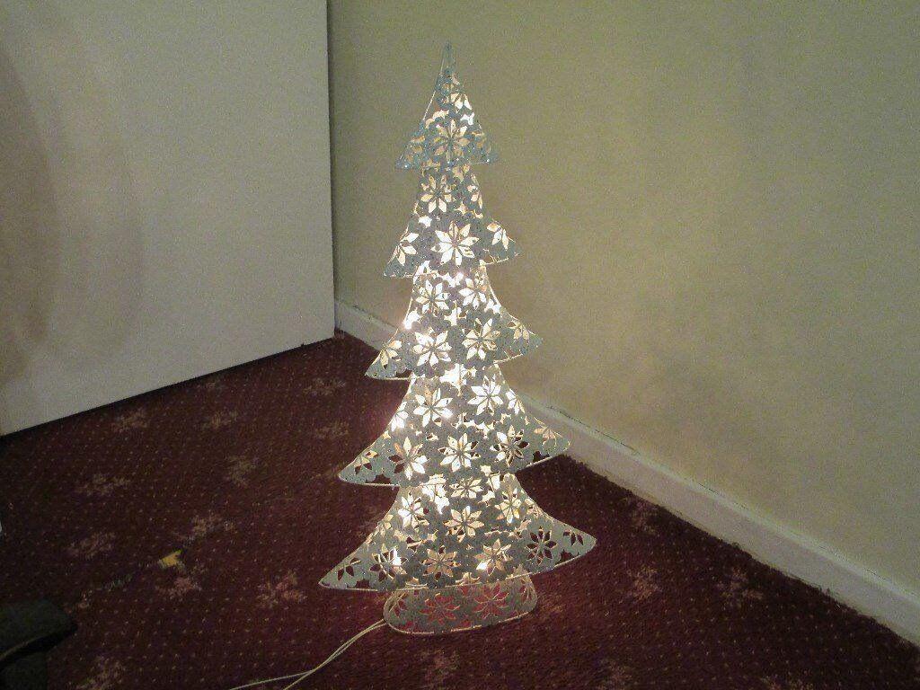 Christmas Tree White Glitter Metal Electric Light up