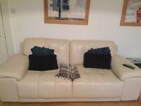 Italian 3 Seater sofa, cream leather