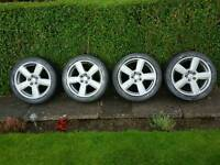 "Vw Passat 17"" x 7.5 alloy wheels 225 45 tyres"