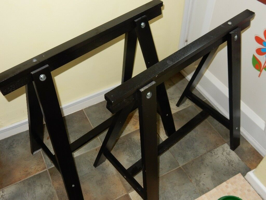 Ikea Trestle base - Excellent condition in black wood (Cost £20 new)