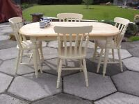 Shabby Chic Solid Pine Farmhouse Country Oval Table and 4 Chairs In Farrow & Ball Cream No 67