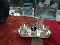 UNUSED SILVER PLATED EGG CUP & SPOON SET