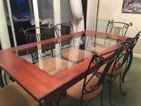 Dining table, 6 chairs and unit