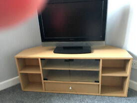 Corner TV Cabinet withe Glass Doors and Drawer