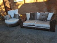Nice crushed velvet sofa suite. 2 seater sofa & swivel chair.brown and mink.delivery available