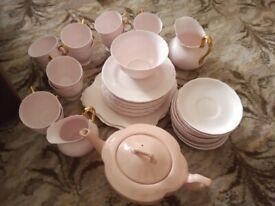 Rose and gold tea set