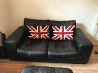 Gorgeous leather sofa, chair and pouffe